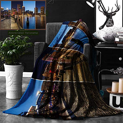 Ralahome Unique Custom Double Sides Print Flannel Blankets American Decor Boston Skyline Day Night Cityscape Reflection Skyscraper In Super Soft Blanketry Bed Couch, Throw Blanket 60 x 40 Inches