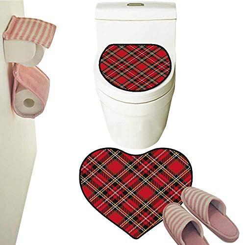 (2 Piece Mat Pedestal Rug Bath Mat Traditional Vintage Scottish Tartan Pattern Striped Checkered Geometric Tile Contour Toilet Mat and Carpet Mat)