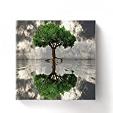 Water Mirror Tree Of Life - Oil Painting On Canvas with Wood Frame Modern Wall Art Pictures For Home Decoration,32''x32''