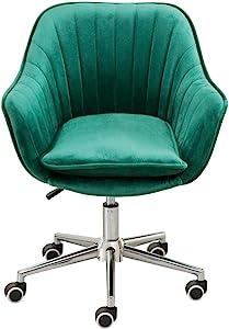 BDD High Stool Task Office Swivel Chair Computer Home Desk Study Room Modern Velvet Elastic Sponge Upholstered Ergonomic Adjustable Height,45X46-58Cm,6 Color Metal Bar Chair,Green