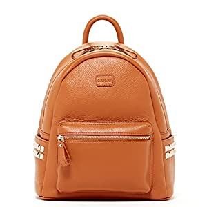 SUSU Brown Pebble Leather Backpack Bags For Women Cute Designer Handbags With Studs and Front Pocket Travel Fashion Backpacks Purses With Side Pockets Quality Rucksack Girlfriend or Wife Birthday Gift