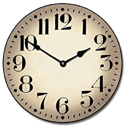 Houston Parchment Wall Clock, Available in 8 sizes, Most Sizes Ship 2 - 3 days, Whisper Quiet.