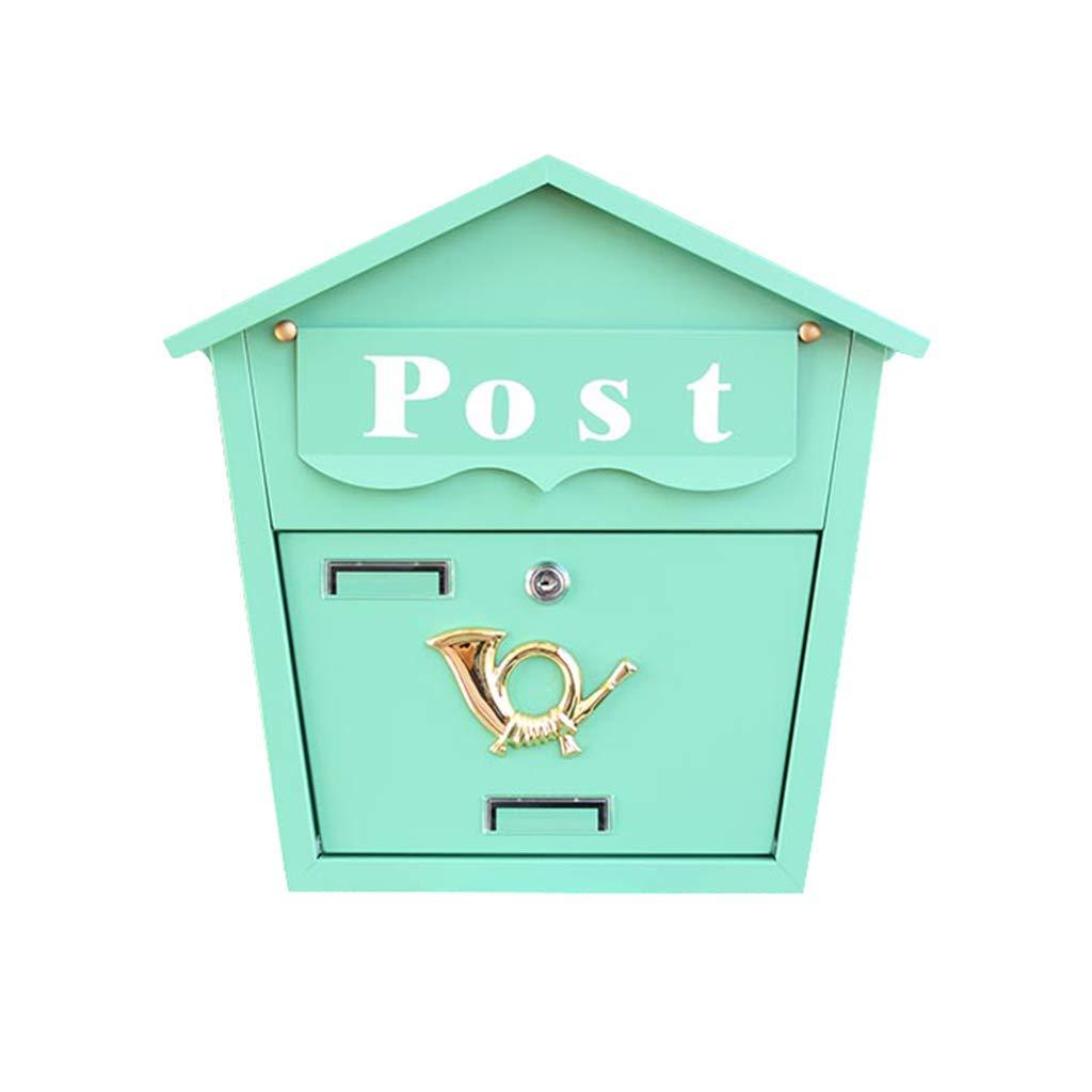 メールボックス、壁別荘メールボックス、メールボックス、レターボックス、メールボックス、ガーデンショップデコレーションボックス(色:緑)   B07TV2KZNT