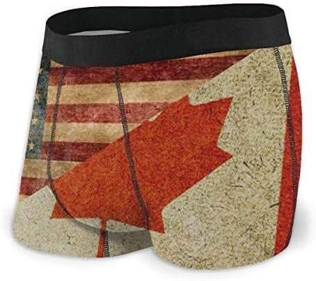 Dydan Tne Herren Boxer Slips Vintage American Canada Flag Weiche Unterwäsche Atmungsaktive Baumwollunterwäsche