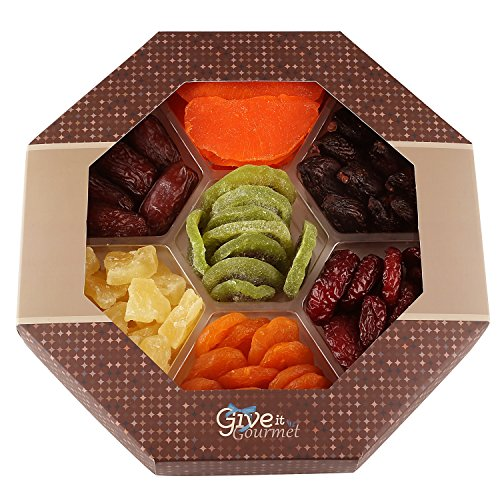 Assortment Dried Fruits Gift Basket (7 Section) - Array of Delicious Dried Medjool Dates, Apricot, Mission Figs, Kiwi, Mango, Pineapple, and Red Angelina Plums | Large Healthy Holiday Gift Basket