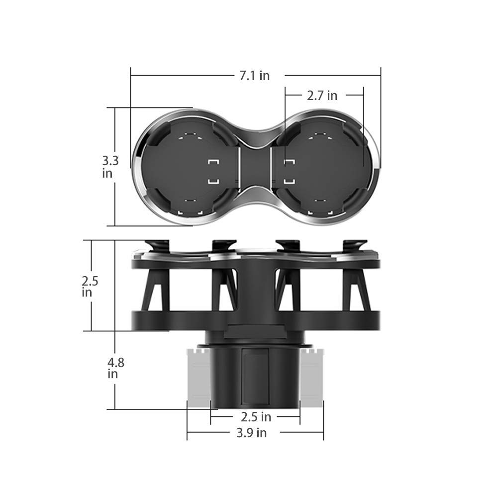 Adaptador de Soporte de Bebidas para Coche con Base Ajustable Soporte de Coche 2 en 1 Multifuncional se Adapta a la mayor/ía de Botellas y Termo GekLok dise/ño /único de Soporte movible
