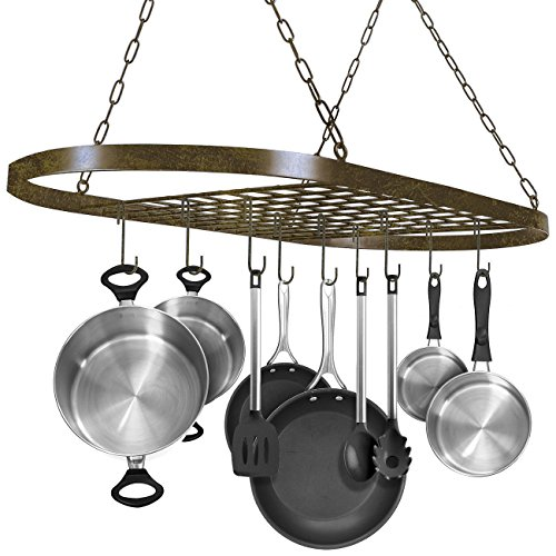 - Sorbus Pot and Pan Rack for Ceiling with Hooks — Decorative Oval Mounted Storage Rack — Multi-Purpose Organizer for Home, Restaurant, Kitchen Cookware, Utensils, Books, Household (Rustic)