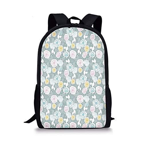 School Bags Pastel,Ornate Hand Drawn Flourish Pattern Floral Swirls Blooms Spring Yard Themed Artistic,Multicolor for Boys&Girls Mens Sport -