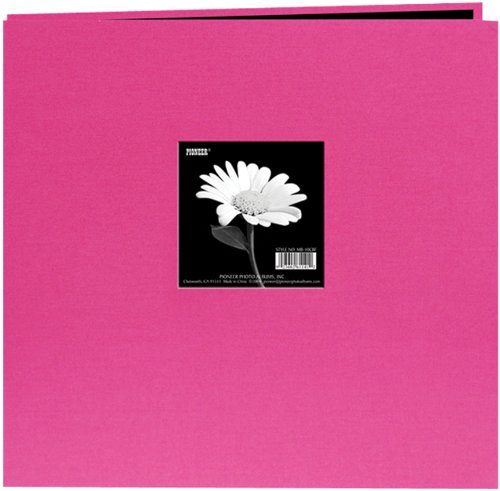 Pioneer 8 Inch by 8 Inch Post Bound Fabric Frame Cover Memory Book, Bright Pink