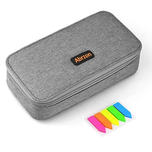 (Pencil Case, Abrzon Big Capacity Pen Case Desk Organizer with Zipper for School & Office Supplies - 8.74x4.3x2.17 inches, Gray)