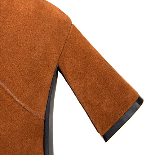 Ladies Zip Round Toe Block Heel Boots Fashion Yellow Black Ankle Chelsea Boots Yellow ya4tGJZ