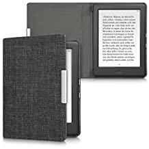 kwmobile Flip Case for Kobo Glo HD (N437) / Touch 2.0 - eBook Case Cover Bag Cover with Design Fabric in dark grey