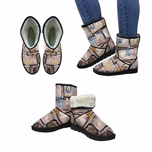 InterestPrint Womens Snow Boots Astrology, Twelve Zodiac Signs Unique Designed Comfort Winter Boots Multi 1