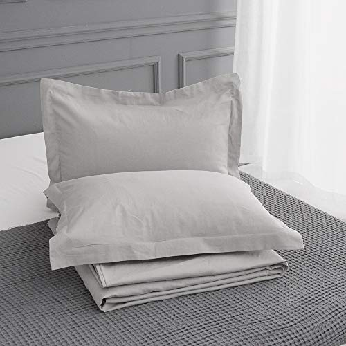 King Linens 100% Belgian Linen Pillow Shams Stone Washed Solid Color - Linen Sham King