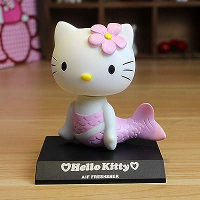 Anime Hello Kitty Bobble Head Car Decoration Dolls, Cute Car Accessories Hello Kitty Cat Car Dashboard Bobbleheads Silicone Cartoon Mermaid Bobble Head Doll Anime Cartoon Cake decorations (Pink): Toys & Games