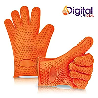 Cooking Gloves Heat Resistant Premium Insulated Grilling Gloves for Cooking, Pot Holders, Oven Mitt and BBQ Gloves (Orange)