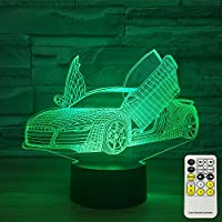 INSONJOHY Sport Car 3D Optical Illusion Lamps Night Lights for Kids 7 Colors Change with Touch Remote Control Kids Night Light As a Birthday Gift Ideas for Boys (Sport Car )