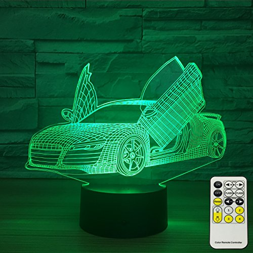 INSONJOHY Sport Car 3D Optical Illusion Lamps Night Lights for Kids 7 Colors Change with Touch Remote Control Kids Night Light As a Birthday Gift Ideas for Boys (Sport Car ) ()