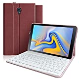 Keyboard Case for Samsung Galaxy Tab A 10.5 2018 Model SM-T590/T595/T597, Slim Cover, Smart Auto Sleep-Wake Multiple Angle Stand Cover with Detachable Wireless Bluetooth Keyboard (Red)