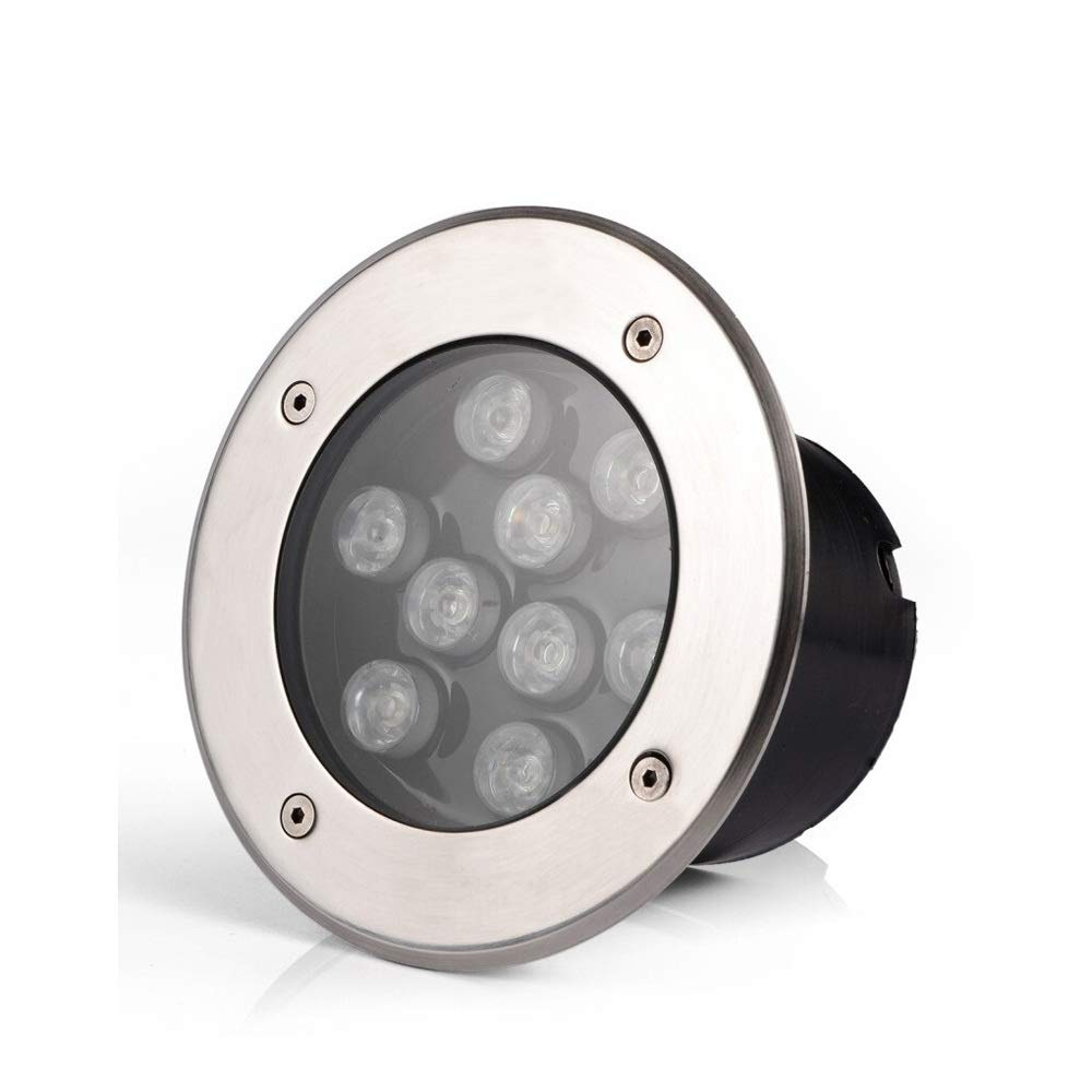 Modenny 9W LED Recessed Underground Lamp Aluminum Waterproof IP67 Outdoor Garden Ground Lights Landscape Lighting Buried Spotlight Pathway Driveway Park Patio Decor Buried Lamp (Color : Warm Light)