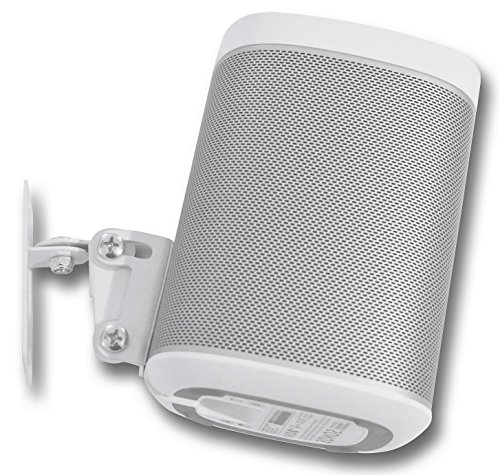SONOS PLAY 1 Wall Mount, (NOT Compatible with SONOS ONE) Adjustable Swivel & Tilt Mechanism, Single Bracket For Play:1 Speaker with Mounting Accessories, White, Designed In the UK by Soundbass by Sound Bass