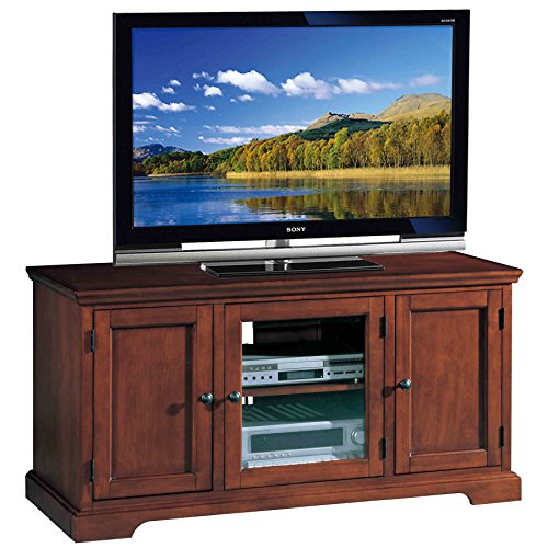 Stands Tv And Wood Glass - Leick Riley Holliday Westwood TV Stand, 50-Inch, Brown Cherry