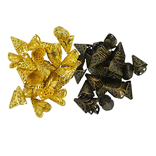 - Homyl 100 Pieces 16X16MM Cone Filigree Bead Caps Tassel Cap Flower Filigree Flower Cup Shaped Bead Caps 7x8mm, Gold and Antique Bronze Tone Jewelry Findings DIY Earring Necklace Bracelet
