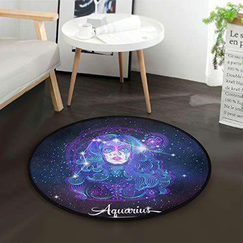 Constellation Zodiac Sign Aquarius Round Playmat with Non-Slip Backing Play Mat Diameter -