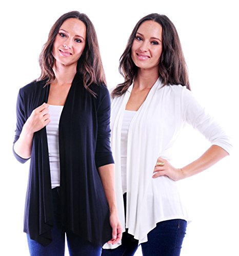 - SR Women's Basic 3/4 Sleeve Open Cardigan (Size: Small-5X), 1X, Black/Ivory