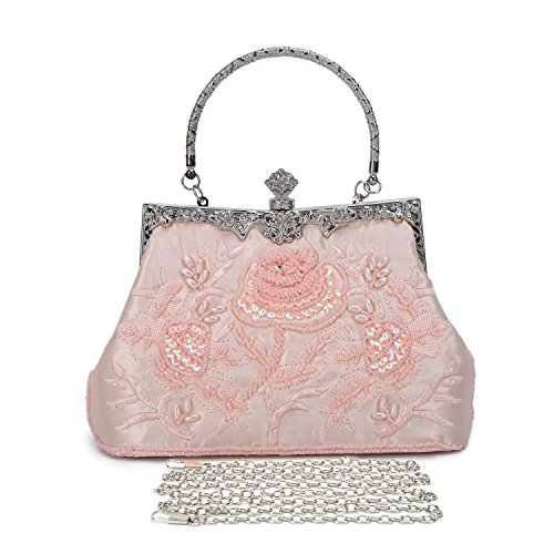 UBORSE Women's Embroidered Beaded Sequin Evening Clutch Large Wedding Party Purse Vintage Bags (Pink)