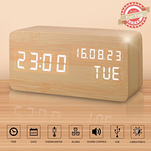 Desk Clock, Displays Time Date Week And Temperature, Cube Wood-shaped Sound Control Desk Alarm Clock for Kid, Home, Office, Daily Life, Heavy Sleepers (Sound Wood)