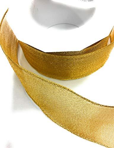 (Gold Ribbon Luxor Gleam Wired Metallic Sheer Ribbon,1-1/2'' x 10 Yards -Gold)
