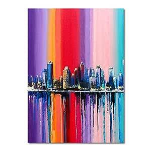 YuanMinglu Resumen Ciudad Color Paisaje Cartel Lienzo Pintura ...
