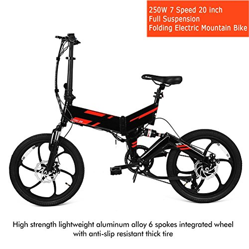 Vividy Folding Mountain Bike 20 inch Foldable Electric Bicycle 250W 7 Speed by Vividy