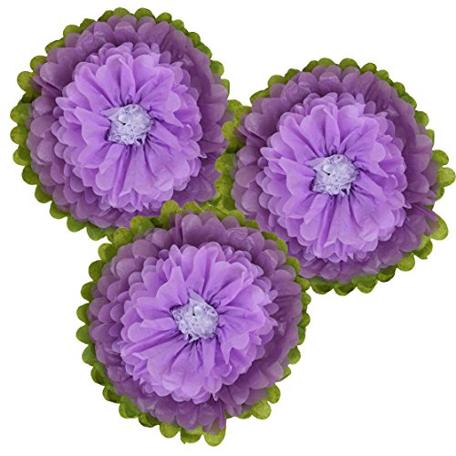 Just Artifacts Tissue Paper Flower Pom Poms (14inch, Set of 3) - Color Combination: Orchid Lilac White