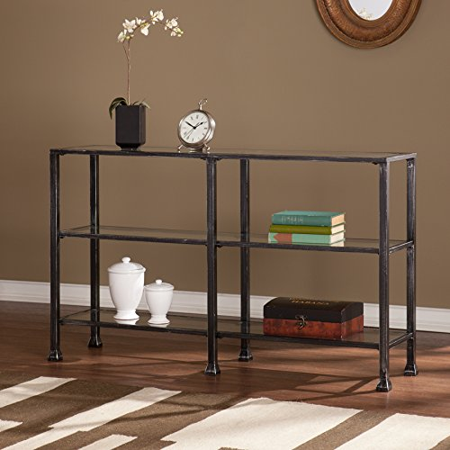 Southern Enterprises Metal-Glass 3-Tier Console Table in Black ()