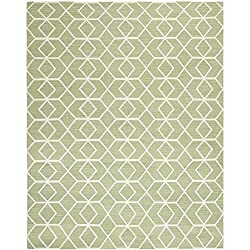 Safavieh Dhurries Collection DHU560A Hand Woven Blue and Ivory Wool Square Area Rug