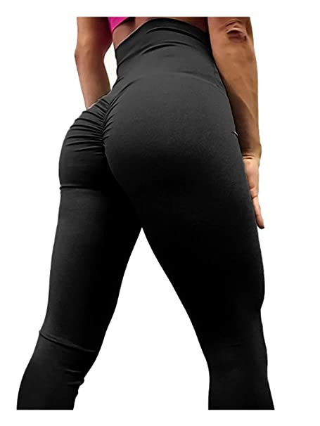 1f4be5f3bc AGROSTE Women's High Waist Scrunch Butt Yoga Pants Workout Ruched Butt  Lifting Stretchy Leggings Hip Push Up Stretchy Tights