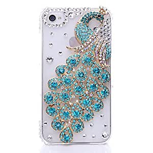 Peafowl Pattern Metal Jewelry Back Case for iPhone 4/4S --- COLOR:Rose