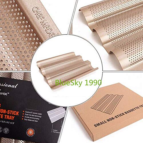 (1 piece Baguette French Bread Baking Tray Gold Color Baguette Frame Rack Nonstick Carbon Steel Baguette Bread Baking Mold Pans)