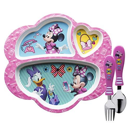 Zak Designs MMCX-2071-AMZ Disney Kids Dinnerware Sets, Plate + Flatware, Minnie 3pc