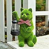 ASAWASA Flocking Cat Solar Garden Statues and
