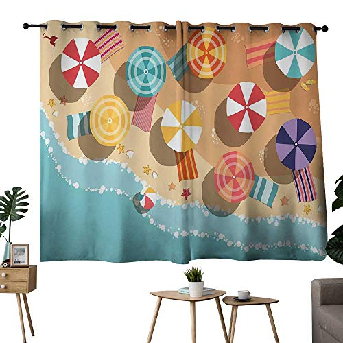 NUOMANAN Grommet Curtains Beach,Summertime Seacoast with Colorful Umbrellas Stars Flat Design Aerial View Vacation,Multicolor,Rod Pocket Curtain Panels for Bedroom & Living Room 52