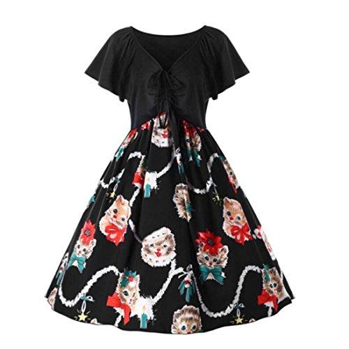 Rockabilly Kleid, Longra Damen Elegant Cocktailkleider Kurzarm Katzekleid Vintage  Retro Hausfrau Swing Festliches Partykleider Damen d5aefbc360