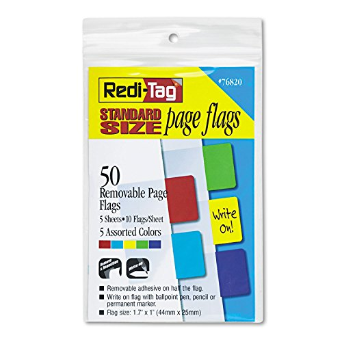 Redi-Tag 76820 Removable Standard Page Flags, 5-Assorted Colors, 50 Flags/Pack ()