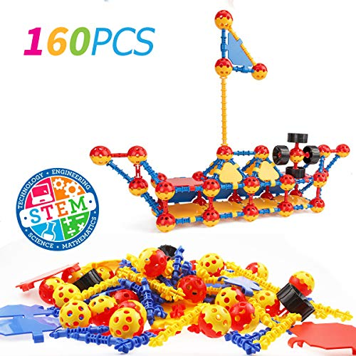 Litian STEM Learning Toys 160 Pieces Set, Building Bricks Creative DIY Engineering Construction Building Blocks Kids Educational Toy Set for Boys and Girls Ages 3+
