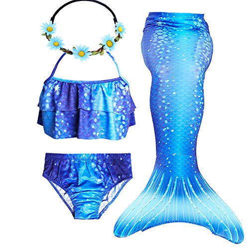 GALLDEALS 3pcs Swimmable Mermaid Tail for Kids Girls Princess Bikini Set Swimsuit Swimwear, 3-12Years]()