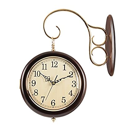 Solid Wood Clock Double Sided Wall Clock Modern Minimalist Living Room Ideas  Mute Wall Charts On