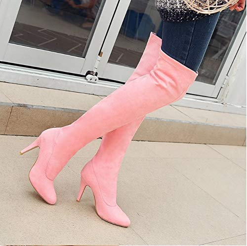 HCBYJ High Heels Over The Knee Stiefel Stiefel Stiefel Herbst und Winter Wies super High Heels Oberschenkel Hohe Stretch-Baumwolle Leder High Heel Damenschuhe 1b7619