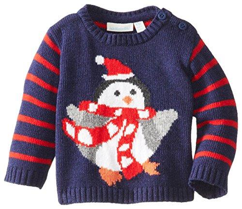 JoJo Maman Bebe Baby-Boys Newborn Penguin Sweater, Navy, 0-3 Months